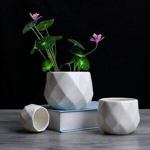 Image 4 - Креативный керамический Алмазный геометрический цветочный горшок, простой суккулентный контейнер для растений, зеленые плантаторы, маленькие горшки для бонсай, украшение для дома