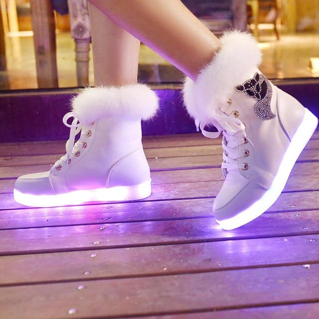 Winter 2016 Female Luminous Shoes Women Snow Boots LED girls PU shoes Fluorescent Light Casual Shoe waterproof  White Black Boot
