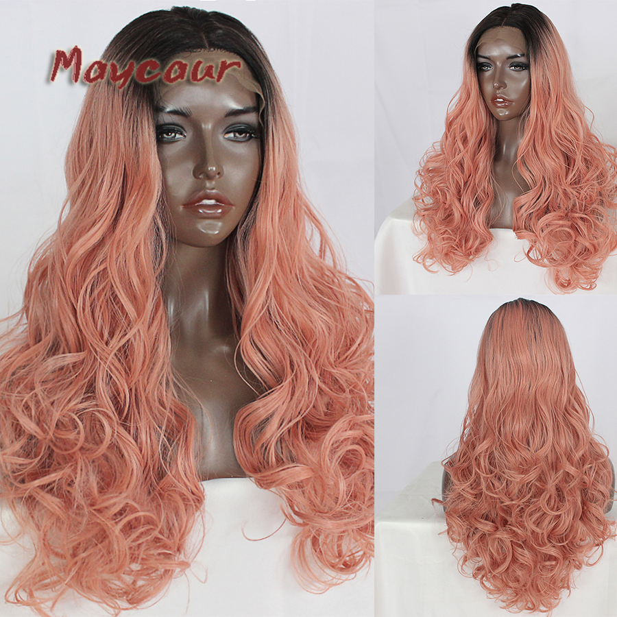 Amicable Maycaur Long 2 Tone Color 1b/pink Body Wavy Hair Wigs Synthetic Lace Front Wigs Glueless Heat Resistant Wigs For Black Women Lovely Luster