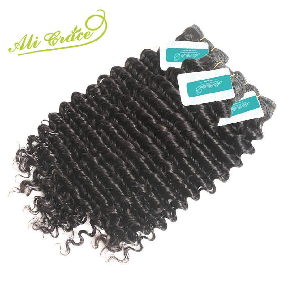 Ali Grace Hair Malaysian Deep Curly Human Hair 3 Bundles Lot Can Be Dyed 100 Remy