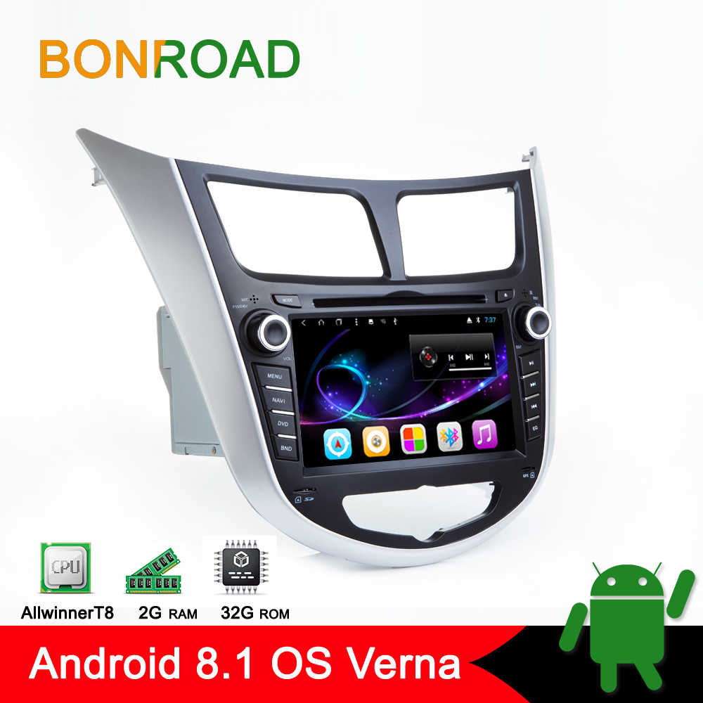 Bonroad Android 8.1 Car Multimedia Player Car DVD For Hyundai  Solaris Verna Accent 2010-2016 Car GPS Radio Video Navigation