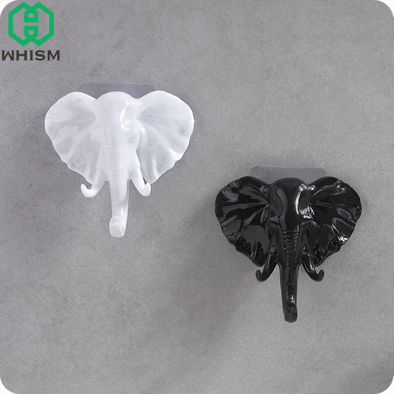 WHISM Elephant Head Sticky Hook Plastic Key Holder Clothing Handbag Hanger Room Home Wall Decor Wall Mounted Sundries Organizer