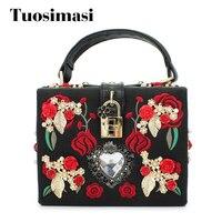 Famous Brand Embroidery Rose Flowers PU Leather Diamond Flowers Hollow Handbag Evening Bag C226