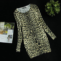 Fashion women's leopard print long design winter sweater dress all match basic plus size loose pulllover sweater WS-025