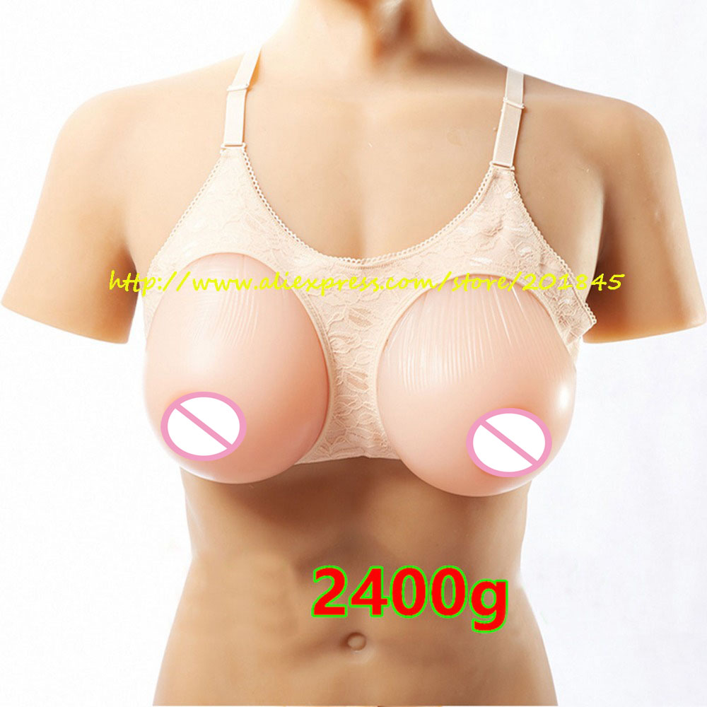 Hot Selling 1Pair 2400g/Pair Huge Silicone Breast Form Artificial Boobs Enhancer For Crossdresser And Trandsgender hot selling soft silicone breast