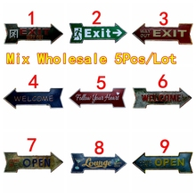 Way Out Exit  Arrow Wholesale Metal Irregular Tin Signs Advertising board Wall Pub Home Art Decor 42X10CM U-17