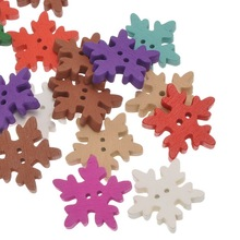 100Pcs Mixed Colors Flower Snowflake Wood Buttons 2 Holes Wooden Sewing Scrapbook Christmas Noel 25x25mm