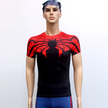 Spiderman T Shirts Short Sleeve High Elastic Fast Dry Tops Super Hero Shirts Water Proof Sport Riding Outdoor Tops