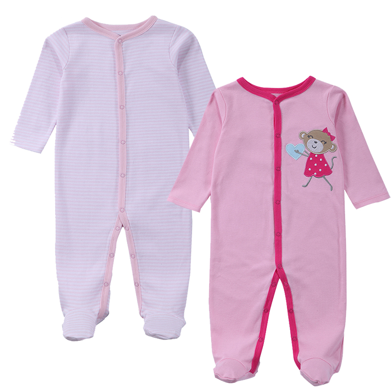 2 Pcs/lot Baby Clothes Baby Boy Girls Footed Romper Baby Rompers 100% Cotton Sleep & Play Clothes Baby Pajamas Newborn Clothing цена