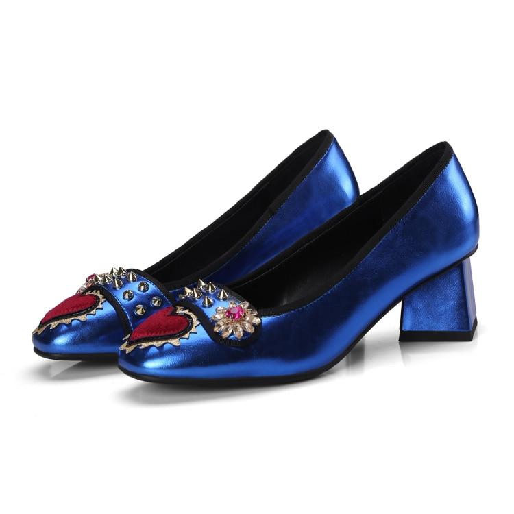 Beertola Femme argent Talons Chaussures Femmes Coeur De 2018 Chunky Pompes Perles Bleu Cuir Mujer Modèles En Nouveaux Clouté Hauts Rivets Zapatos Brillant raSq1vrn