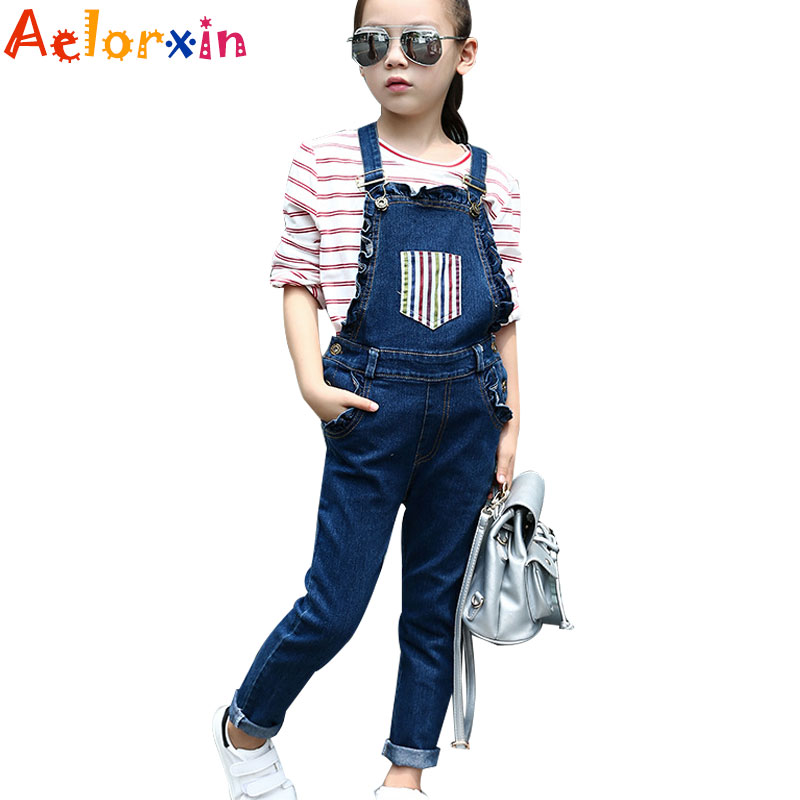 Denim Overalls For Girls Jeans 2018 Spring Pants Children Jumpsuits Casual Students Trousers Children Rompers 4 5 7 9 11 12Years new men s denim overalls men slim fit cotton casual jeans jumpsuits for men long sleeves zipper patch trousers clothing