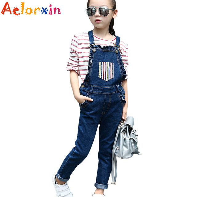 f669bd4a5aaf Denim Overalls For Girls Jeans 2018 Spring Pants Children Jumpsuits Casual  Students Trousers Children Rompers 4 5 7 9 11 12Years