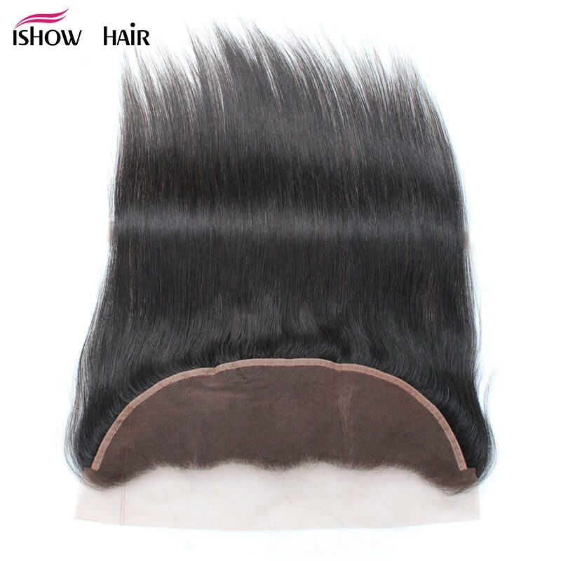 Ishow PrePlucked 13*4 Ear to Ear lace frontal Bleached Knots Indian Straight Hair 100% Human Hair Natural Color Non Remy Hair