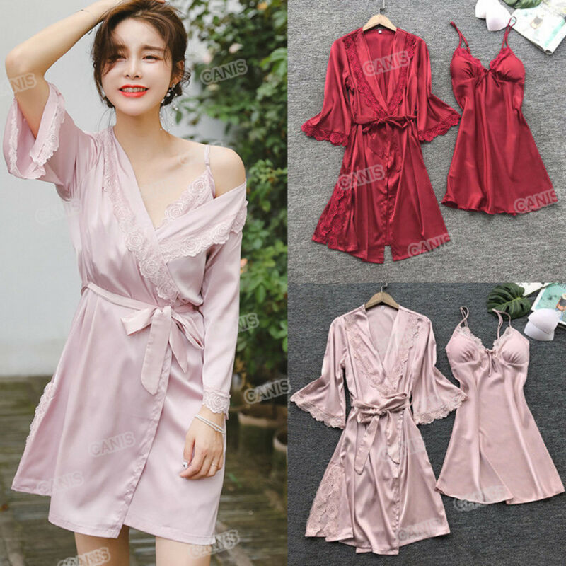 Hot Women Sexy Robe & Gown Sets Sleep Dress Bride Kimono Robe Satin Silk Lace Night Dress Gown Sleepwear 3PCS