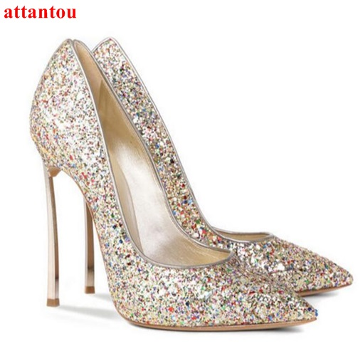 Bling Bling Champagne Women Shoes Slip-on High Heels metal thin heel pumps female wedding dress shoes pointed toe fashion outfit white lace embroider women shoes slip on high heels glaze surface metal thin heel pumps female wedding dress shoes pointed toe