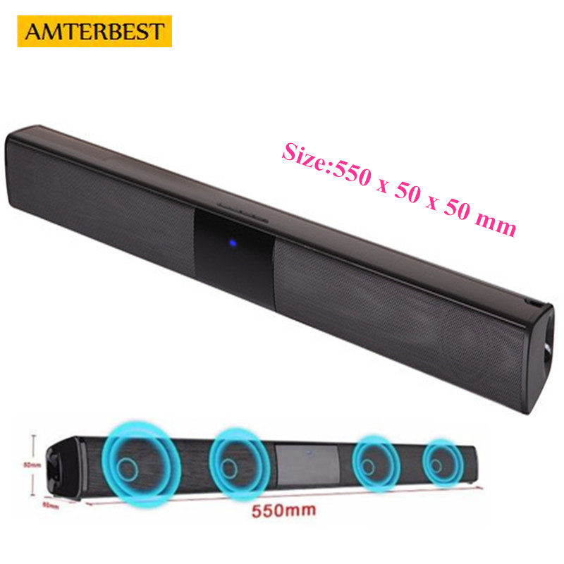 AMTERBEST Portable Bluetooth Speaker Wireless 3D Stereo Sound Bar Musica TV Del Computer Altoparlanti Support 3.5mm TF USB