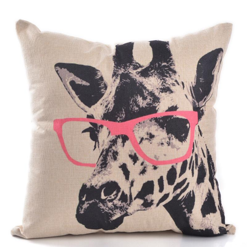 Throw Pillows With Washable Covers : Giraffe Pink Glasses Sofa Car Throw Pillows Cover Washable Waist Seat Pillow Home Decoration ...