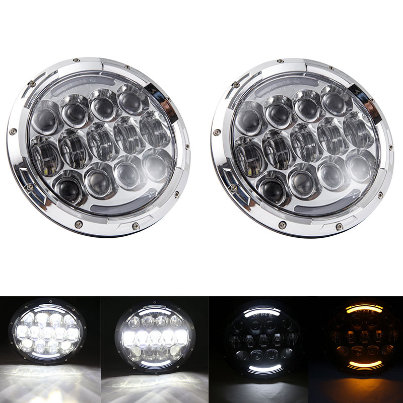 Free shipping Pair Round 105W 7inch led headlamp with White DRL Yellow Turn signal for Jeep Wrangler JK CJ TJ Harley 1pcs 7 80w headlamp led headlight with drl for jeep wrangler jk tj fj harley off road lights high low beam new free shipping