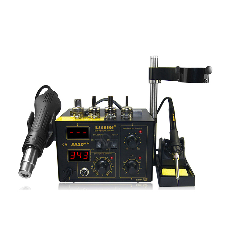 Saike 852D++  220V/110V Hot Air Rework Station Soldering Station  2 In 1 With Supply Air Gun Rack ,and Many Gifts