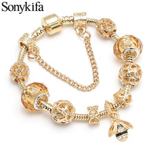 Sonykifa Vintage Gold Color Charm Bracelets With Crystal Heart & Bees Beads Fit Original DIY Pandora Bracelet Women Jewelry Gift(China)