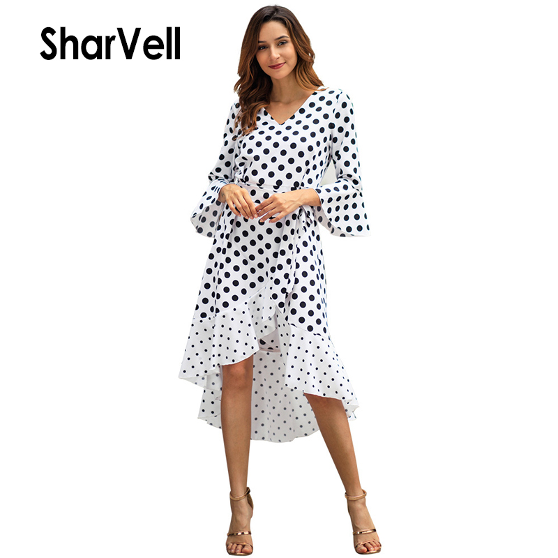 SharVell New Women Spring Mid Length Dresses Fashion Butterfly Sleeve Ruffles Hem A-Line Dress Bow Bandage Tunic Dot Print Dress