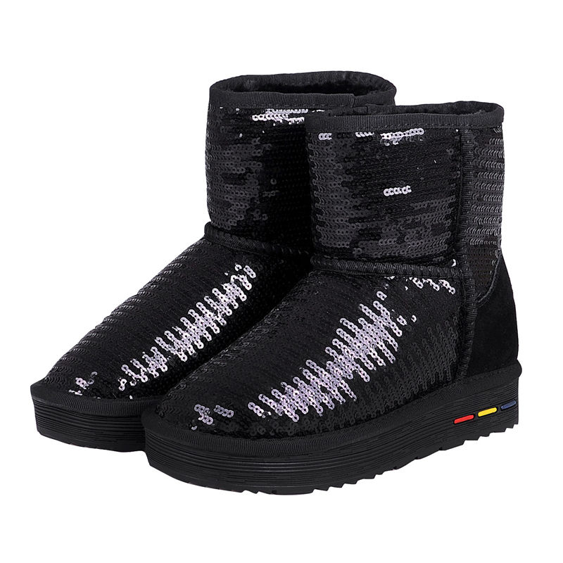 247c818ad2 Nikbea Genuine Leather Women Australia Classic Glitter Snow Boots Thick  Plush Sequin Snow Boot Shoes Winter Warm Ankle Boots
