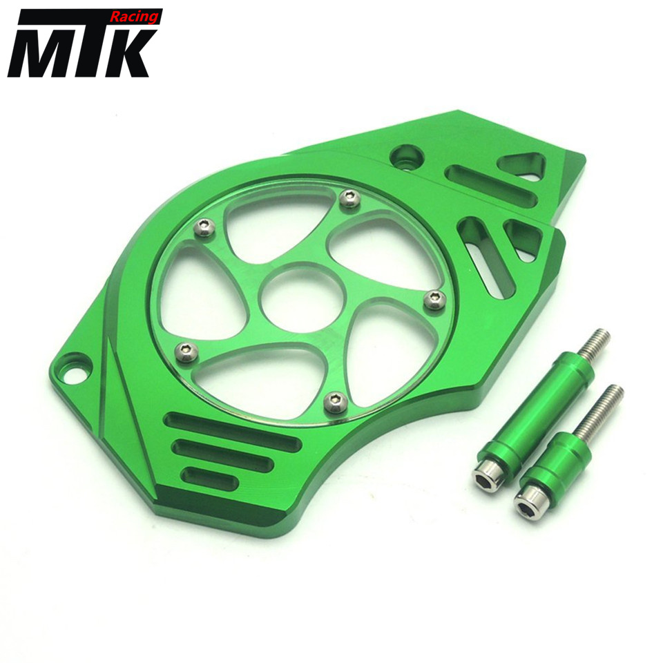 MTKRACING Motorcycle Front Sprocket Chain Guard Cover Left Side Engine For KAWASAKI ER-6F 2012-2017 ER-6N 2012-2017 er6n er6f motorcycle cnc 6 hole beveled engine side guard derby cover
