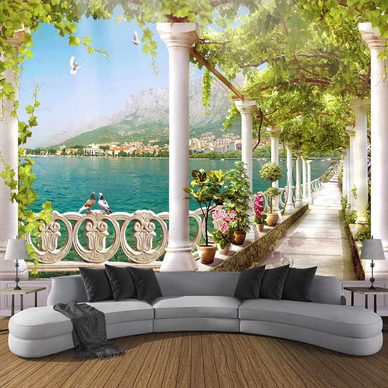 Custom Photo Wallpaper 3D Stereoscopic Space Balcony Lake Scenery Mural Living Room Bedroom Wall Painting Wall Papers Home Decor
