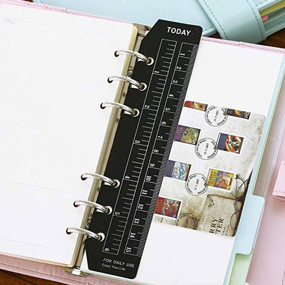 2 Pcs Notebook Index Page PVC Loose-leaf Separator Page A5/A6/A7 Different Size Multi-function 6 Holes Bookmark Ruler
