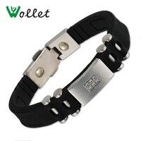 Wollet Jewelry Energy Wristbands Germanium Hematite Negative ions Bands Black Silicone Bracelets Bangle Healing Adjustable Size