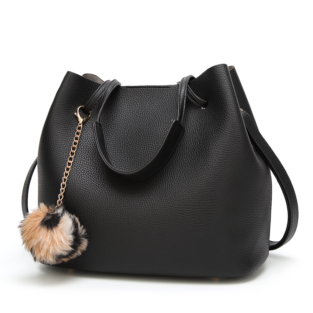 2018 Quality Assurance Large Capacity Leather Women HandBag Casual Tote Female Shoulder Bag Bucket Plush Ornaments Strap Handbag