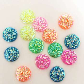 New 90pcs MIX candy color AB Resin 12mm Carved flowers round half beads Flatback stone scrapbook  DIY  buttons ornaments PC21A*3