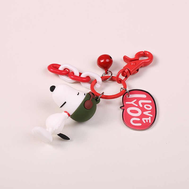 2018 Anime Figura Keychain Do Cão Mão-pintado Ofício Cão Bull Terrier Chaveiro Bugigangas para Carro Vinil PVC Figura Animal keychain