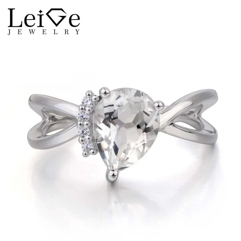 Leige Jewelry Natural White Topaz Ring Wedding Ring November Birthstone Pear Cut Gemstone 925 Sterling Silver Ring for Women leige jewelry real natural white topaz ring wedding ring pear cut gemstone november birthstone solid 925 sterling silver ring