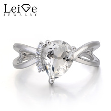 Leige Jewelry Natural White Topaz Ring Wedding Ring November Birthstone Pear Cut Gemstone 925 Sterling Silver Ring for Women