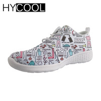 HYCOOL Water Sports Shoes Swimming Female Cute Nurse Bear Printing Flats Aqua Shoes Comfortable Lace up Beach Chaussures Femme