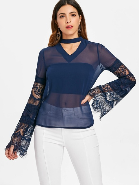 5c183366e8633 Women Blouses See Through Transparent Mesh Stand Neck Lace Long Sleeve  Sheer Blouse Shirt Ladies Tops Tee Plus Size