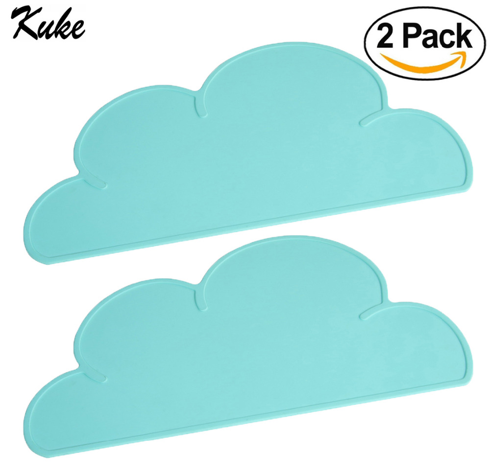 Kuke Set of 2 Placemats FDA appoveed Silicone Cloud Placemats for Table Food Grade Silicone Baby