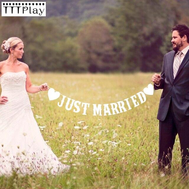 Wedding Buntingเพิ่งแต่งงานPhoto Booth Propงานแต่งงานงานเลี้ยงงานแต่งงานงานตกแต่งธงแบนเนอร์