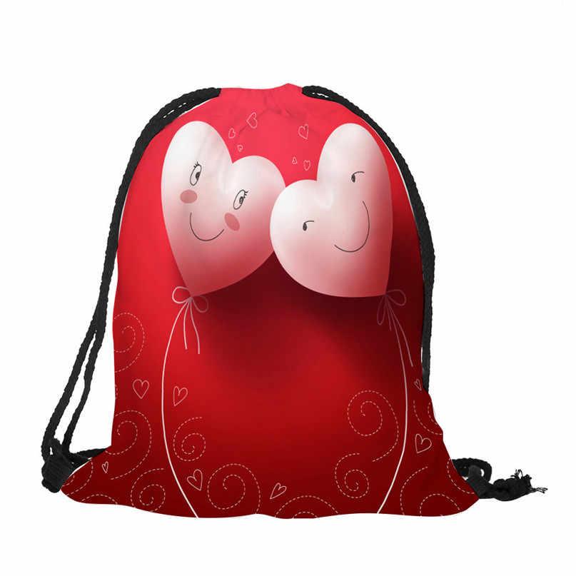Outdoor Ransel Tas Natal Hadiah Tas Penyimpanan Hari Valentine Serut Tas Karung Olahraga Gym Kantong Perjalanan Mahasiswa Tas # 2A # F