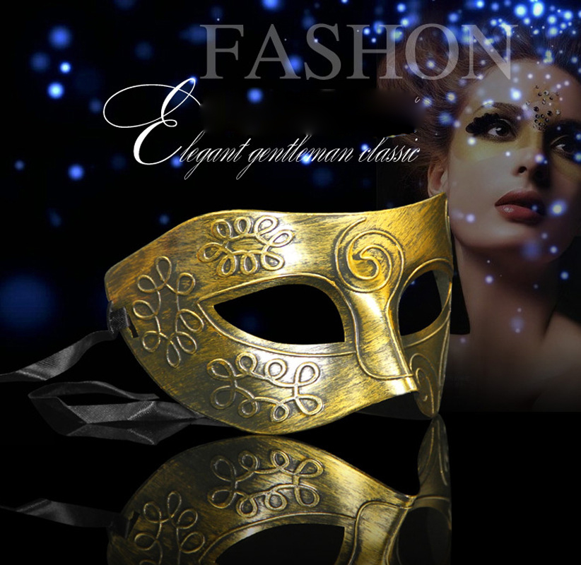 Retro Men Halloween Silver Gold Venetian Mardi Gras Masquerade Party Ball Mask~Y