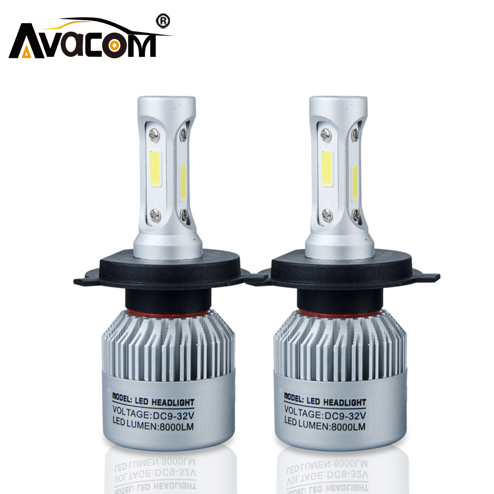 цена на Avacom 2Pcs H7 LED Turbo H4 Car Headlight Bulb COB H11/H8/H9 H1 H3 9005/HB3 9006/HB4 Hir2 H27 8000LM 6500K 12V 24V Auto Voiture
