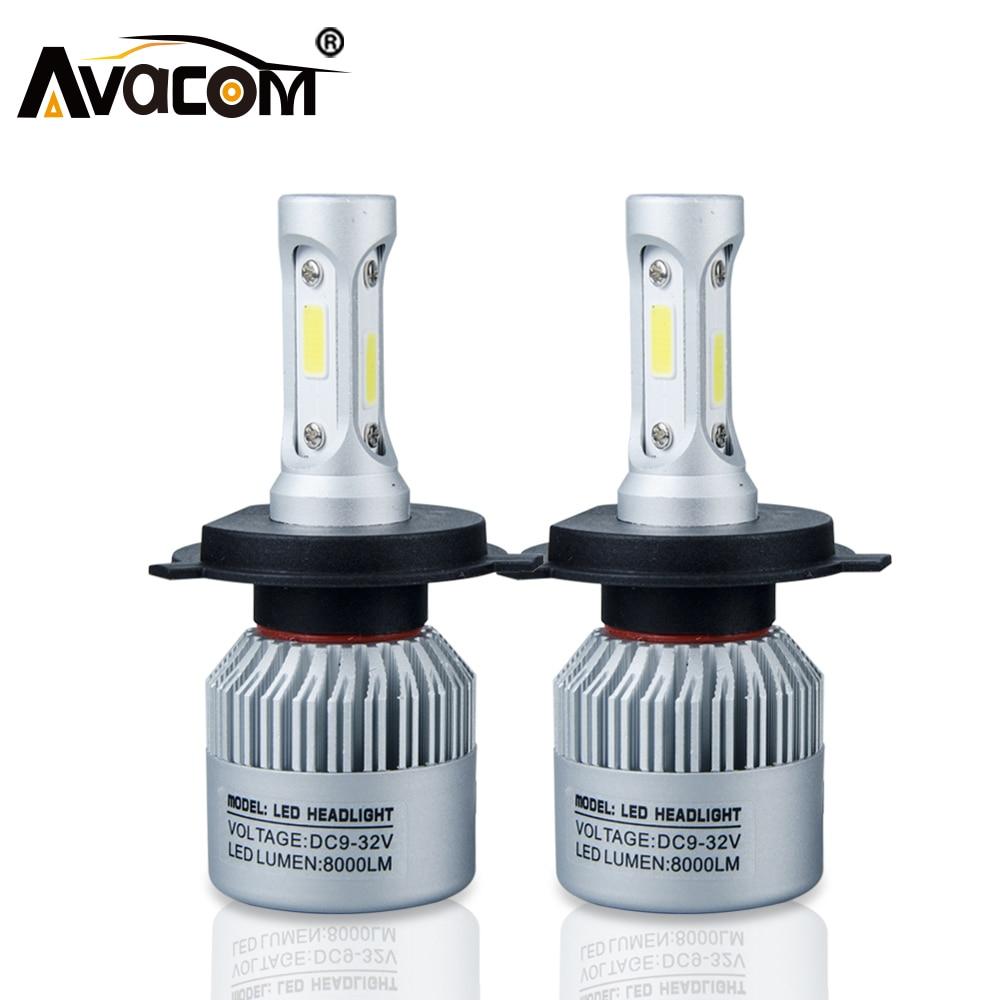 H4 H7 S2 Led-autoscheinwerferlampe COB H11 H1 H13 H3 9004 9005 9006 9007 9012 hallo-Lo Strahl 72 Watt 8000LM 6500 Karat IP65 Auto Scheinwerfer kit