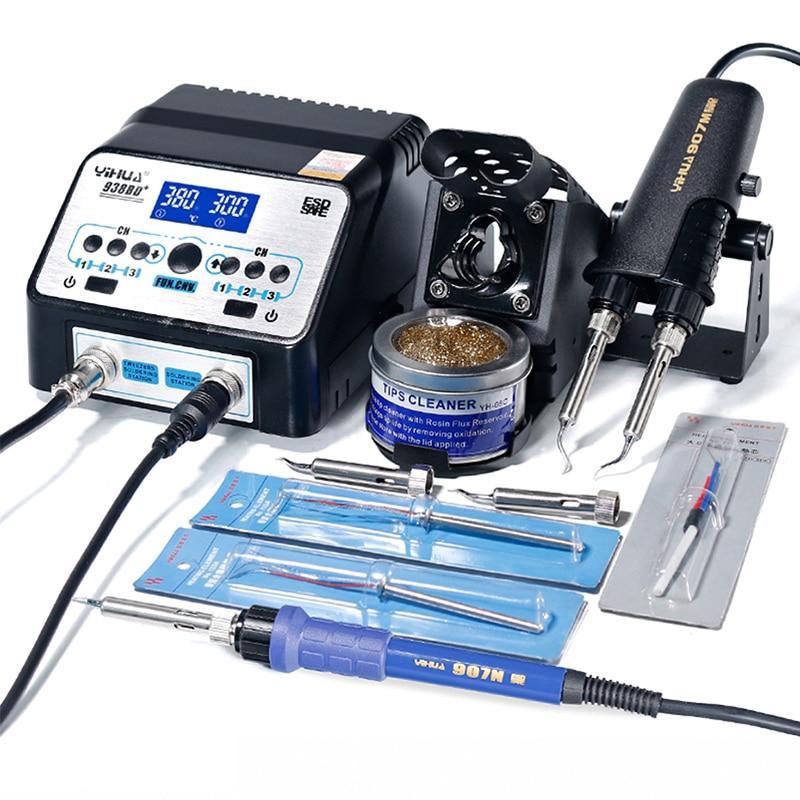 YIHUA 938D 938BD+ Soldering Irons Station High Power BGA SMD Soldering Tweezers Repair Rework Solder Tools Kit Station 110V 220V