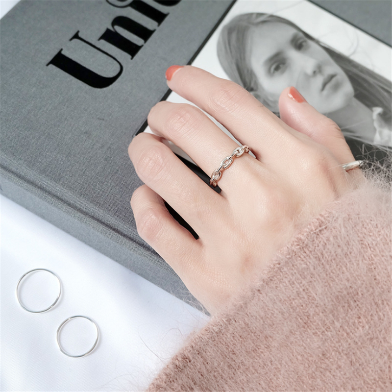 Genuine 100% 925 Sterling Silver Rings for Women Simple Link Chain Silver Ring Party Causal Vintage Jewelry Dropshipping 3