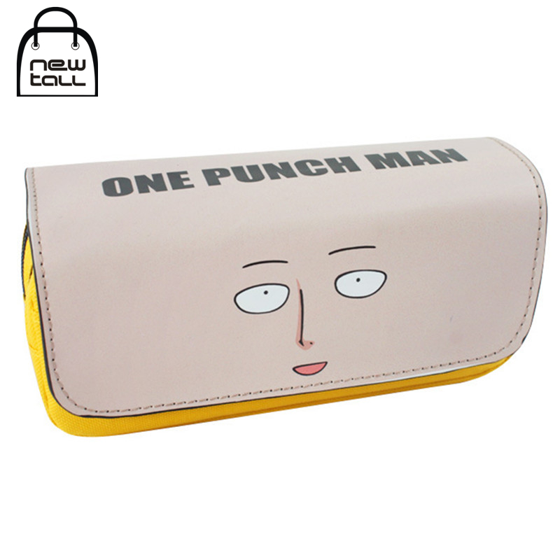 [NEWTALL] One Punch Man Saitama Pencil Case Large Capacity Organizer Magic Stick Cover Double Zipper Stationery Bag T1389 deli gradient candy color large capacity zipper pencil stationery case student pencil bag