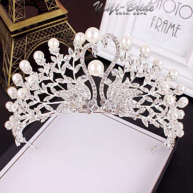 Luxury Wedding Bridal Crystal Tiaras Crowns Princess Queen Pageant Pearl  Rhinestone Veil Tiara Headband Wedding Hair a0781cd5ec5d