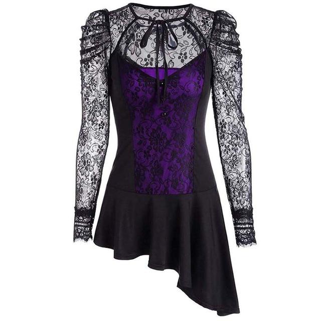 plus size dress women black purple O neck gothic above mini short ...