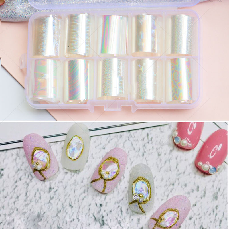 1 Pc Clear Laser Nail Transfer Film Holo Pattern DIY Art Tip Full Cover Holographic Foil Sticker