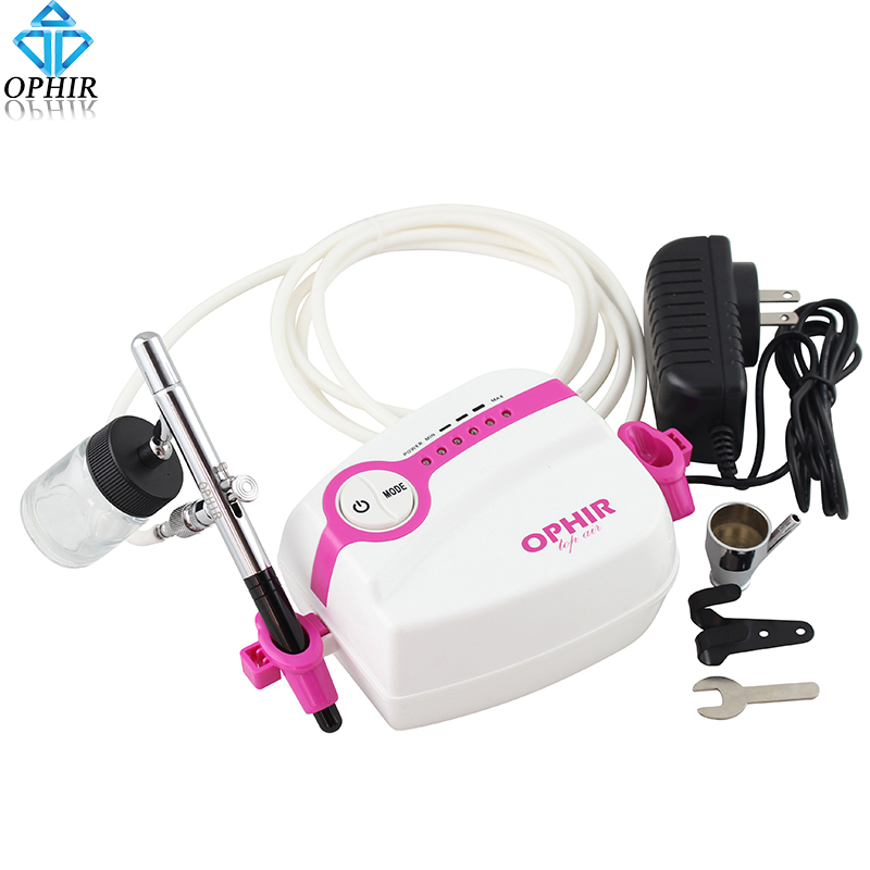 OPHIR White Cake Airbrush Kit with Air Compressor 0.35mm Dual Action Air Brush Gun for Makeup Hobby Tattoo Nail Art _AC094+AC072 ophir 0 4mm single action airbrush kit with 5 adjustable mini air compressor cake airbrush gun for makeup body paint ac094 ac007